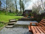 Lawned garden with summer house, BBQ and seating