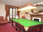 Snooker room with 3/4 size pool table