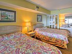 Dream easily in the 1 bedroom furnished with 2 queen-sized beds sleeping up to 4 guests.
