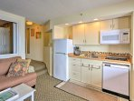 Home-cooking is a breeze with new appliances including a 3-ring stove top and dishwasher.