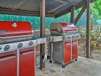 There are 4 gas grills available within the community.