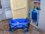 the shed- beach chairs, umbrellas, carts/wagon
