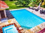 A big clean pool is right near the house: you and your family will like swimming here all day
