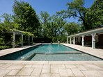 Heated, saltwater pool with pool house