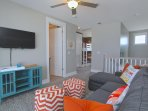 Gulf front family suite w/ queen sleeper sofa, twin bunks, private full bath and bar area