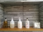Complementary toiletries by Arbonne, Cole & Lewis and Molton Brown