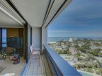 Your living room has sweeping expansive views of Siesta Key Beach, downtown Sarasota, Lido and Longboat Key.