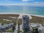 Aerial view of the Terrace building and the private beach on Siesta Key.  Heated community pool off to the right of the...
