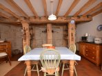 Kitchen/diner with beautiful wooden beams
