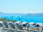 Magnificent views of the sea and mountain from the outdoor dining area