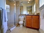 1st guest room bathroom with walk in shower.