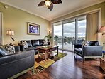Living room has access to the balcony.