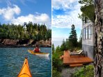 Guest photo from a kayak (left); lounge chairs on the deck (right).