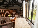 Upstairs seating area overlooking countryside