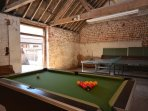 Games Barn with table tennis, pool tables and darts