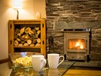 relax and enjoy the woodburning stove