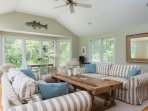 Plenty of comfortable seating in the living area - 29 Bellamy Lane North Chatham Cape Cod - New England Vacation Rentals