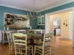 Dining room with large round table, great for extra dining and even a large puzzle - 29 Bellamy Lane North Chatham Cape...