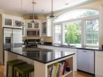 Stainless steel appliances and seating for two at the island - 29 Bellamy Lane North Chatham Cape Cod - New England...