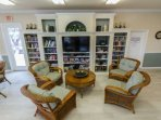 A library and large screen TV are also available for your use and enjoyment in the community room.