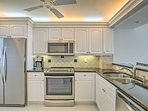 The top-of-the-line appliances highlight the fully equipped kitchen.