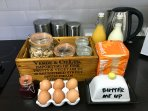 An example of some of the things you will find in your complimentary welcome hamper for breakfast.