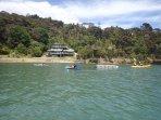 Kayaking fun around the swim pontoon