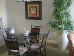 Comfortable dining room table.