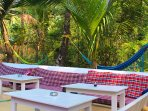 Our chill out area,where we all have our and breakfast served every day.