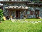 Typical stone villa with garden in Aosta Valley