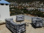 Roof terrace has 360 degree sea and mountain views