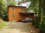 Cabin has a flat, gravel driveway. Private with mountain views for a great price.