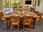 Indoor dining as part of the great room. Great Views! Another flat screen TV - this one 65' 4K
