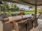 Outdoor covered dining is where it all happens on Kauai. Pool and ocean views. 4 sun-lounge chairs