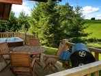 Decking with private hot tub, seating and BBQ