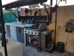 Four burner Weber BBQ, bar fridge and dishwasher