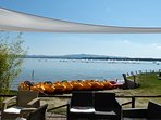 Lovely Bar next to Lake Trasimeno. Small Beach, Play Area, Sunshades and Pedalos. (July 2018)