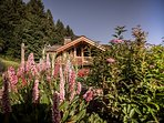 Set in a large private garden in a quiet spot on the mountainside above les Houches.