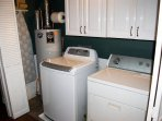 Big Laundry Area w iron & board. We provide one load for free! Requires hi-efficiency detergent
