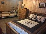 Large lower level bedroom, 2 queen beds