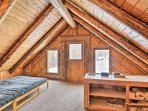 This space also features a futon for additional sleeping accommodations.