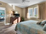 Relaxing Beach Theme with Great View! King sized bed in the master bedroom.  Beautiful views and master bathroom.
