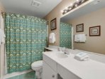 Tub/Shower Combination with Plenty of Counter Space! Master bathroom.