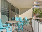 Beautiful Balcony with Plenty of Space and Seating to Enjoy the View! Most beautiful pool deck in Panama City beach!