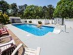 Prefer chlorine to ocean water? Splash around in the backyard's heated pool.
