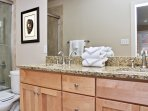Bath Tub and Shower Combo with Double Granite Vanity