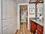 Separate vanity area in the master bedroom.