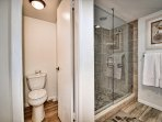 Large walk-in shower and private lavatory.
