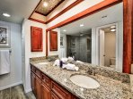 Master bathroom has double sinks.