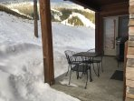 Winter view from covered patio with gas bbq!  Sleds included!